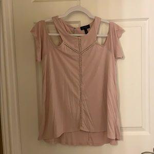 Pink blouse over the shoulder sleeves